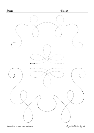 Flourish line tracing worksheets for kids, Anna Kubczak