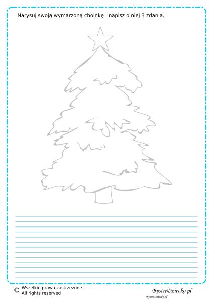 Napisz zdania o Twojej wymarzonej choince - wypracowanie dla dzieci, sprawdzian z języka polskiego