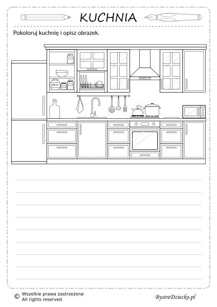 Opisz obrazek, kuchnia kolorowanka dom - wypracowanie dla dzieci, sprawdzian z języka polskiego