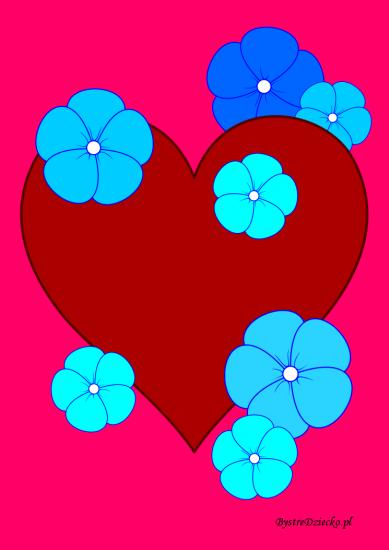 Kolorowanka serce i kwiaty - Kolorowanki na Walentynki dla dzieci do wydrukowania