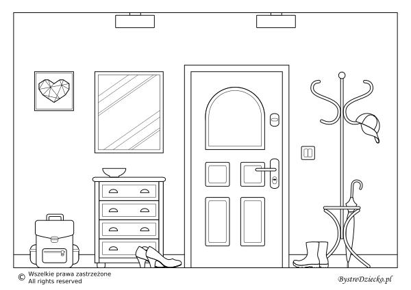 Dom kolorowanki dla dzieci - przedpokój do kolorowania; coloring page for kids - hall as one of the home rooms
