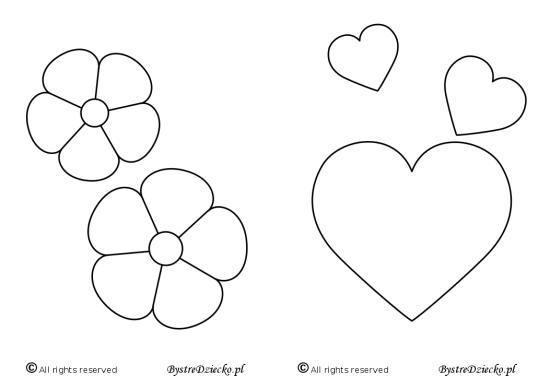 Kwiaty i serca - malowanki dla dzieci do druku, Anna Kubczak