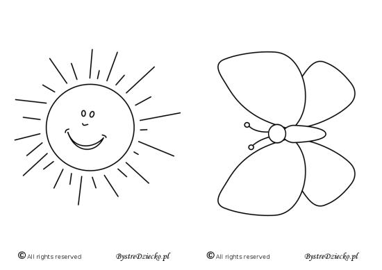 Słońce i motyl - malowanki dla dzieci do druku, Anna Kubczak