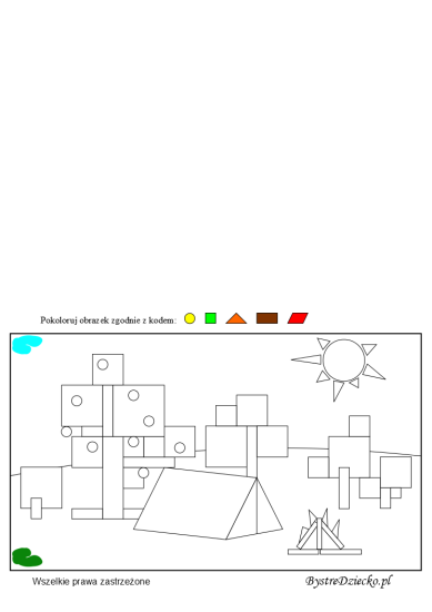 Geometric shapes coloring pages - math worksheets for kids