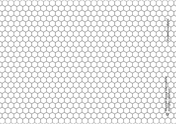 Kolorowanki geometryczne dla dzieci - kartka w kratkę do wydruku - wzór w sześciany, wzór heksagonalny
