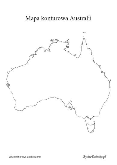 Australia mapa konturowa do wydrukowania dla dzieci