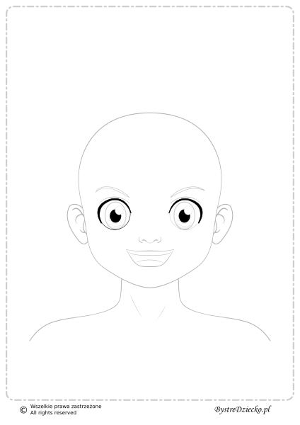 Twarz bez włosów - kolorowanki dla dzieci; face coloring page for kids without hair