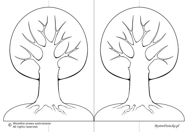 Szablon drzewa do wycięcia -  kolorowanki dla dzieci na cztery pory roku