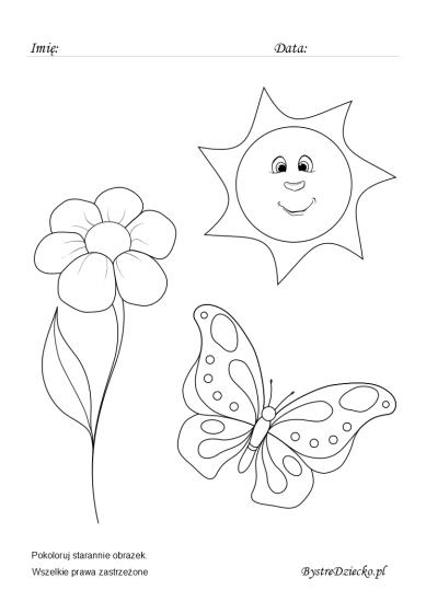Wiosenny motyw, kolorowanki do wydruku dla dzieci
