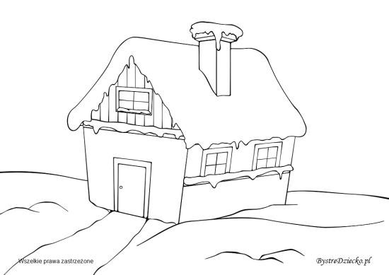 Dom kolorowanka dla dzieci na zimowe wieczory - kolorowanki zimowe