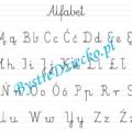 Abecadło, alfabet - nauka pisania dla dzieci w liniaturze