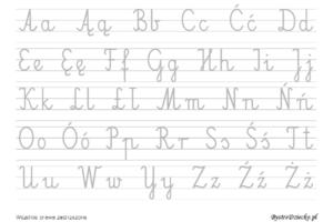 Abecadło, alfabet - nauka pisania dla dzieci, duża czcionka