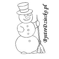 Zimowy bałwan kolorowanka dla dzieci