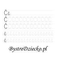 Nauka pisania literek z dużą czcionką - Ć
