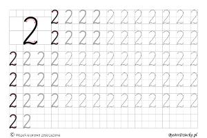 Cyferki dla dzieci - szablon do nauki pisania 2 - matematyka