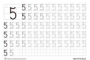 Cyferki dla dzieci - szablon do nauki pisania 5 - matematyka