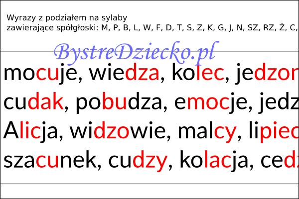 Wyrazy, zdania i teksty z podziałem na sylaby pisane dwoma kolorami czcionki - nauka czytania dla dzieci metodą sylabową - MPBL C, DZ
