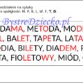 Wyrazy, zdania i teksty z podziałem na sylaby pisane kolorową czcionką - nauka czytania dla dzieci metodą sylabową - MPBL TD