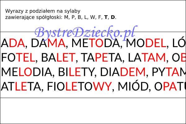 Wyrazy, zdania i teksty z podziałem na sylaby pisane dwoma kolorami czcionki - nauka czytania dla dzieci metodą sylabową - MPBL TD