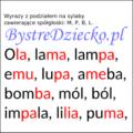 Wyrazy, zdania i teksty z podziałem na sylaby pisane dwoma kolorami czcionki - nauka czytania dla dzieci metodą sylabową - MPBL