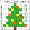 Bożonarodzeniowa choinka jako dyktando graficzne, piksele, nauka kodowania i programowanie dla dzieci - karty pracy do wydruku na zimę