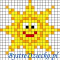 Dyktanda graficzne piksele, nauka kodowania i programowanie dla dzieci - karty pracy do wydruku na lato - słońce