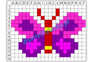 Dyktanda graficzne, nauka kodowania i programowanie dla dzieci - karty pracy do wydruku z ukrytym obrazkiem motyl
