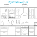 Dom kolorowanki dla dzieci - kuchnia do kolorowania; coloring page for kids - kitchen as one of the home rooms