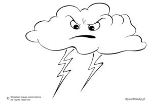 Pogoda burzowa jako kolorowanki dla dzieci - burza kolorowanka
