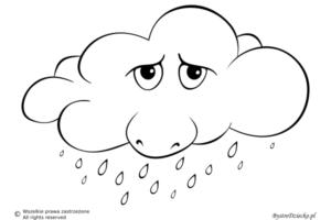 Pogoda deszczowa jako szablon wycinanki dla dzieci - deszcz kolorowanka
