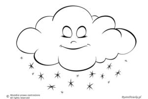 Pogoda śnieżna jako kolorowanki dla dzieci - chmura śniegu kolorowanka