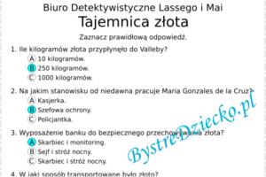 Lektury i książki dla dzieci test - Biuro Detektywistyczne Lassego i Mai - Tajemnica złota - Martin Widmark, Helena Willis - karty pracy dla dzieci, arkusze z zadaniami