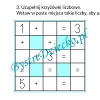 Nauka dodawania dla dzieci w zakresie 10 - grafy matematyczne, krzyżówka liczbowa - karty pracy