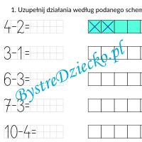 Nauka odejmowania dla dzieci w zakresie 10 - grafy matematyczne - karty pracy