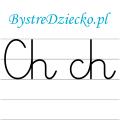 Nauka pisania dla dzieci, ch pisane, karty pracy do wydruku