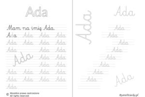 Karty pracy z imionami - nauka pisania imion dla dzieci - Ada