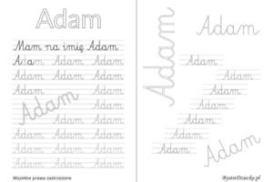 Karty pracy z imionami - nauka pisania imion dla dzieci - Adam