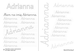 Karty pracy z imionami - nauka pisania imion dla dzieci - Adrianna