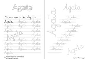 Karty pracy z imionami - nauka pisania imion dla dzieci - Agata
