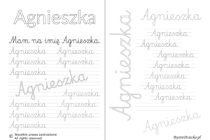 Karty pracy z imionami - nauka pisania imion dla dzieci - Agnieszka