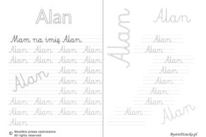 Karty pracy z imionami - nauka pisania imion dla dzieci - Alan