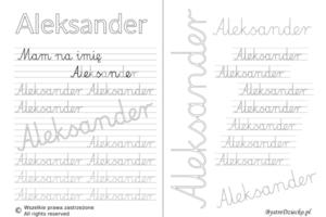 Karty pracy z imionami - nauka pisania imion dla dzieci - Aleksander