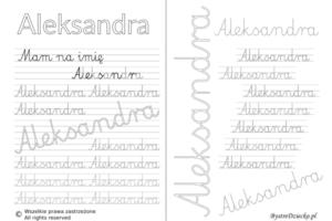Karty pracy z imionami - nauka pisania imion dla dzieci - Aleksandra
