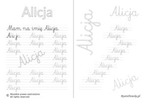 Karty pracy z imionami - nauka pisania imion dla dzieci - Alicja