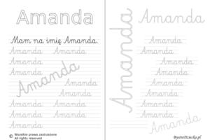 Karty pracy z imionami - nauka pisania imion dla dzieci - Amanda