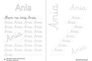 Karty pracy z imionami - nauka pisania imion dla dzieci - Ania