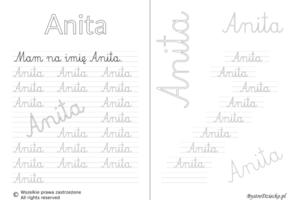 Karty pracy z imionami - nauka pisania imion dla dzieci - Anita