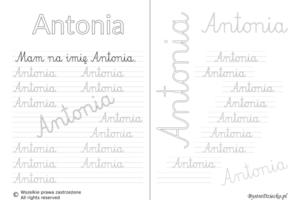 Karty pracy z imionami - nauka pisania imion dla dzieci - Antonia