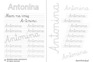 Karty pracy z imionami - nauka pisania imion dla dzieci - Antonina
