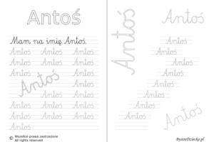 Karty pracy z imionami - nauka pisania imion dla dzieci - Antoś